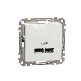 Schneider SDD111401 SEDNA Dupla USB töltő, A+A, 2.1A, fehér