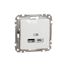 Schneider SDD111402 SEDNA Dupla USB töltő, A+C, 2.4A, fehér
