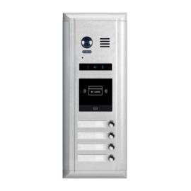 V-TEK DMR11S/ID/S4 kültéri kaputelefon 4 gombos, társasházi lakásokhoz, RFID