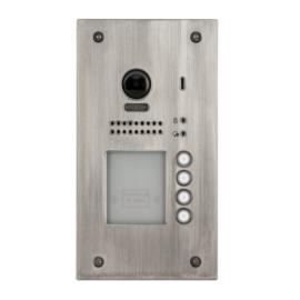 V-TEK DT607F/FE/ID/S4 négy gombos kültéri kaputelefon beépített kamerával, süllyesztett, fémházas kivitel IP54