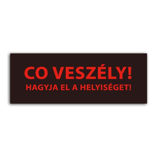 """Detnov RCOD-500 jelzőtábla matrica """"CO veszély Hagyja el a helyiséget!"""""""