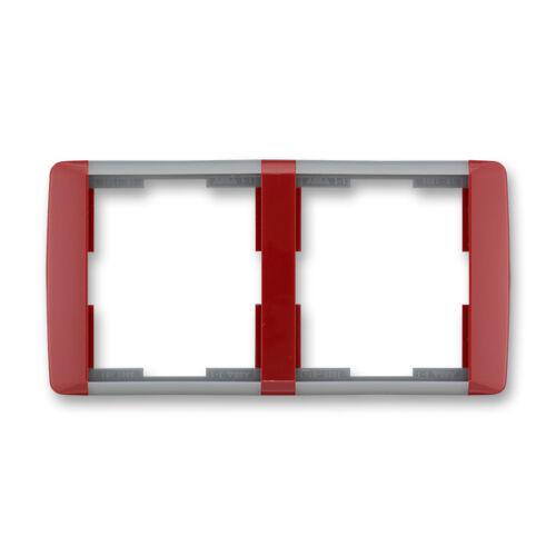 ABB kapcsoló keret 2-es vízszintes Element Kármin vörös / Hideg szürke (3901E-A00120 24)