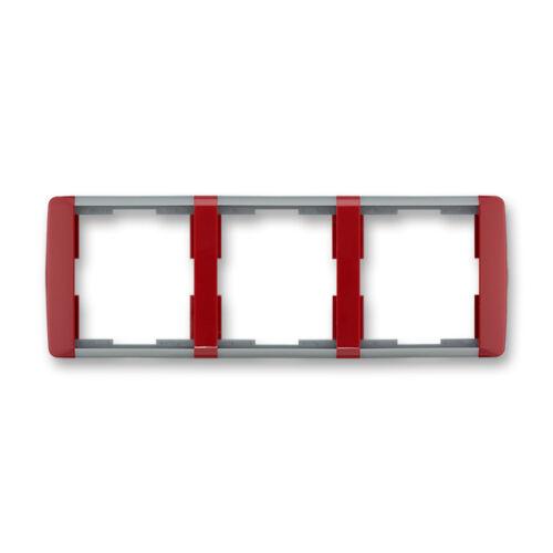 ABB kapcsoló keret 3-as vízszintes Element Kármin vörös / Hideg szürke (3901E-A00130 24)