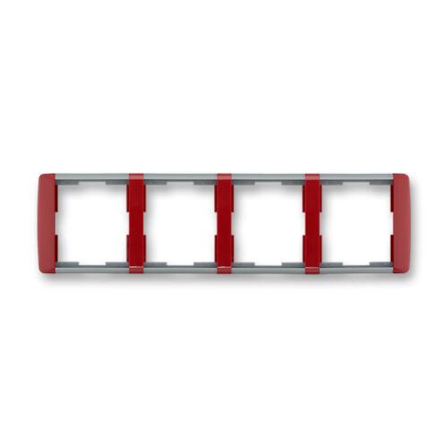 ABB kapcsoló keret 4-es vízszintes Element Kármin vörös / Hideg szürke (3901E-A00140 24)