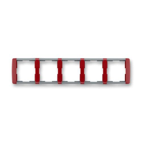ABB kapcsoló keret 5-ös Element vízszintes Kármin vörös / Hideg szürke (3901E-A00150 24)