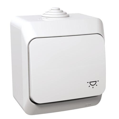 Schneider WDE000513 CEDAR PLUS Egypólusú nyomó, lámpajellel, IP44, fehér