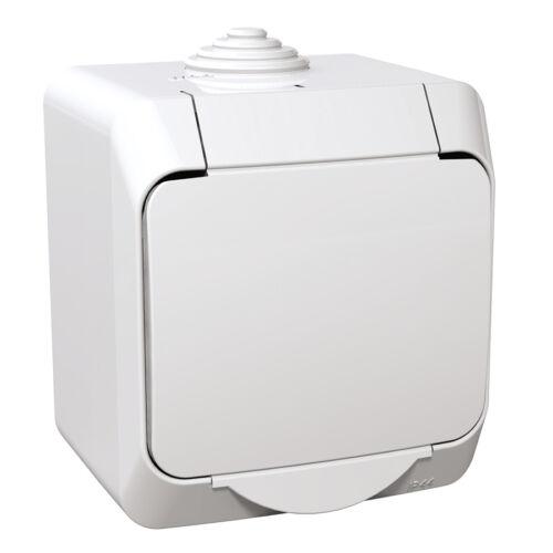 Schneider WDE000541 CEDAR PLUS 2P+F csatlakozóaljzat, biztonsági zsaluval, csapófedéllel, IP44, fehér