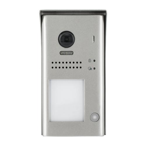 V-TEK DT607/C/S1/RH egy gombos kültéri kaputelefon IP54, fémházas kivitel, beépített kamerával