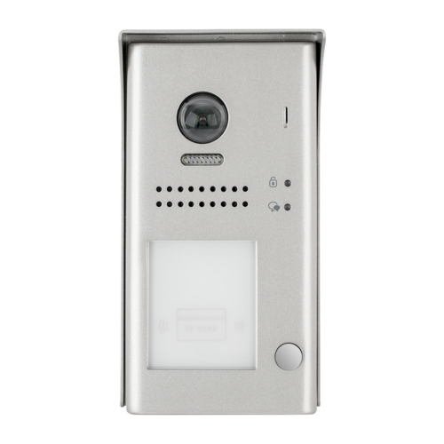 V-TEK DT607/FE/ID/S1/RH egy gombos kültéri kaputelefon beépített kamerával, felület szerelt, fémházas kivitel IP54